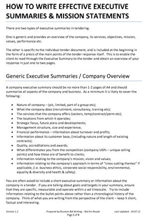 High Quality Executive Summaries And Mission Statements 1 (292× On How To Write An Effective Executive Summary