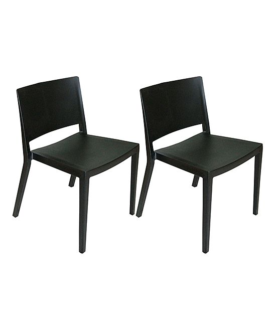 Black Plastic Stackable Chair - Set of Two