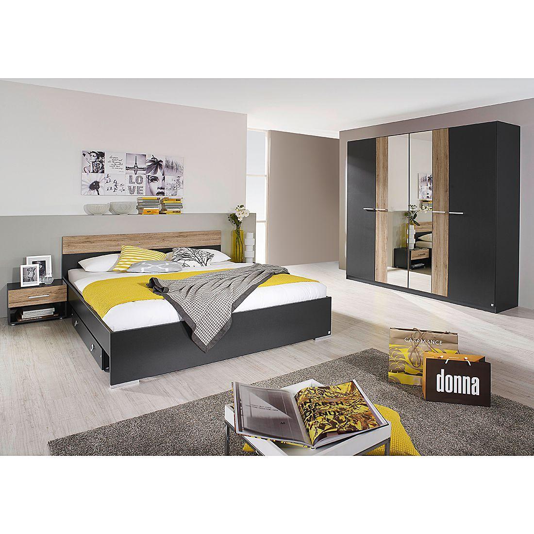 Schlafzimmerset Badalona (4teilig) Grau/Eiche Dekor