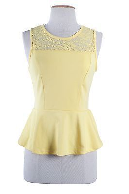 Sexy Solid & Floral Lace Crochet Sleeveless Tank Top Fitted Peplum Shirt Blouse