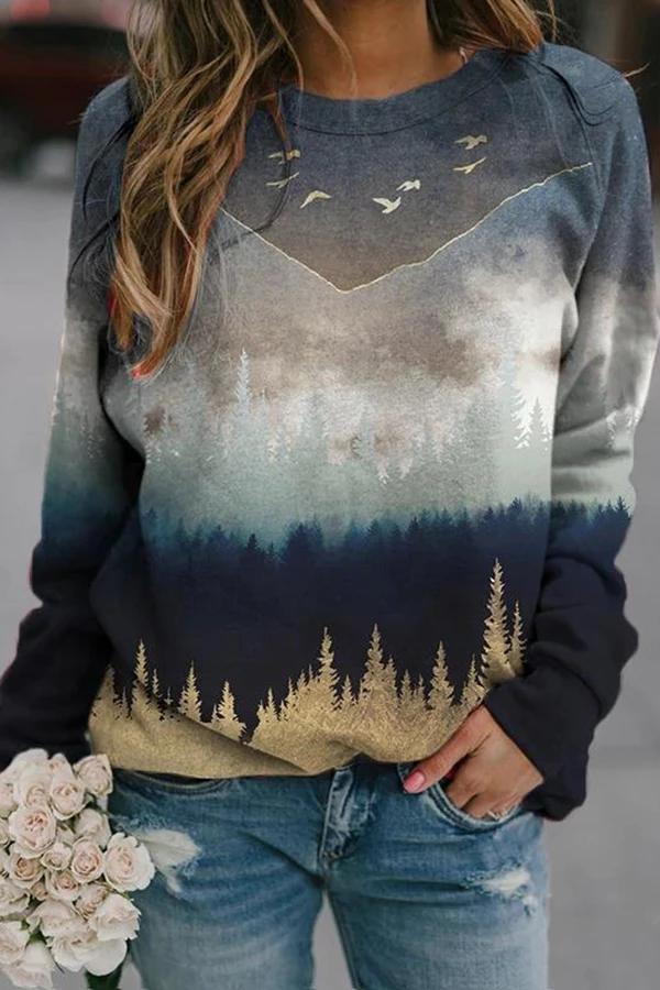 Gradient Vintage Landscape Jacquard Sweatshirt