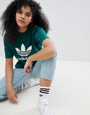 Adidas Originali Adicolor Trifoglio Gigante Verde Fa T - Shirt.