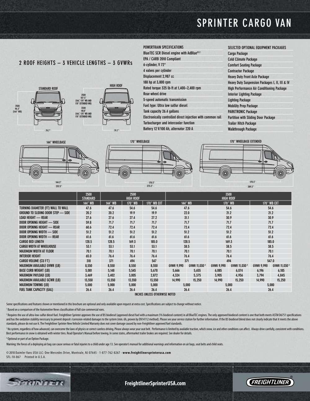 sprinter freightliner sprinter cargo van size chart