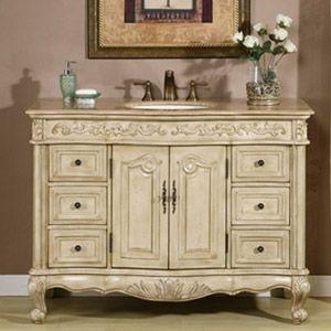 48 cortona single bath vanity tradewindsimports bathroom vanity cabinetsantique - Antique White Bathroom Cabinets