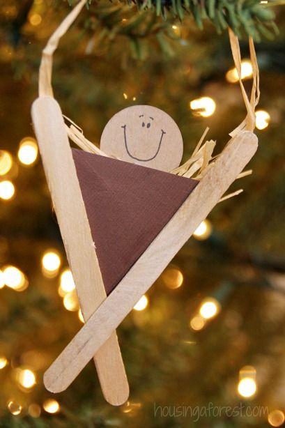 Nativity Craft For Kids Popsicle Stick Manger Ornaments