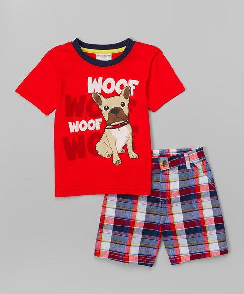 4a5bfdb7 Buster Brown Red 'Woof Woof' Tee & Plaid Shorts | zulily | My Little ...