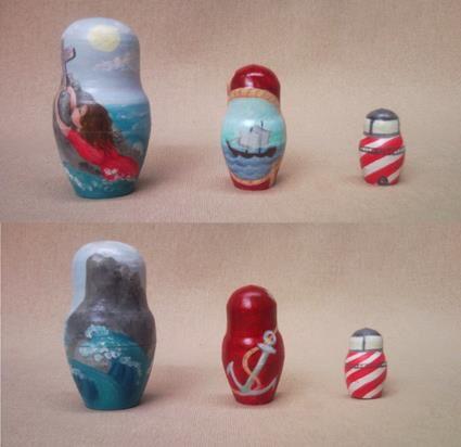 Matrioske della serie sul mare assieme alla sirena. #seamatrioska #lighthouse #anchor #rockofages