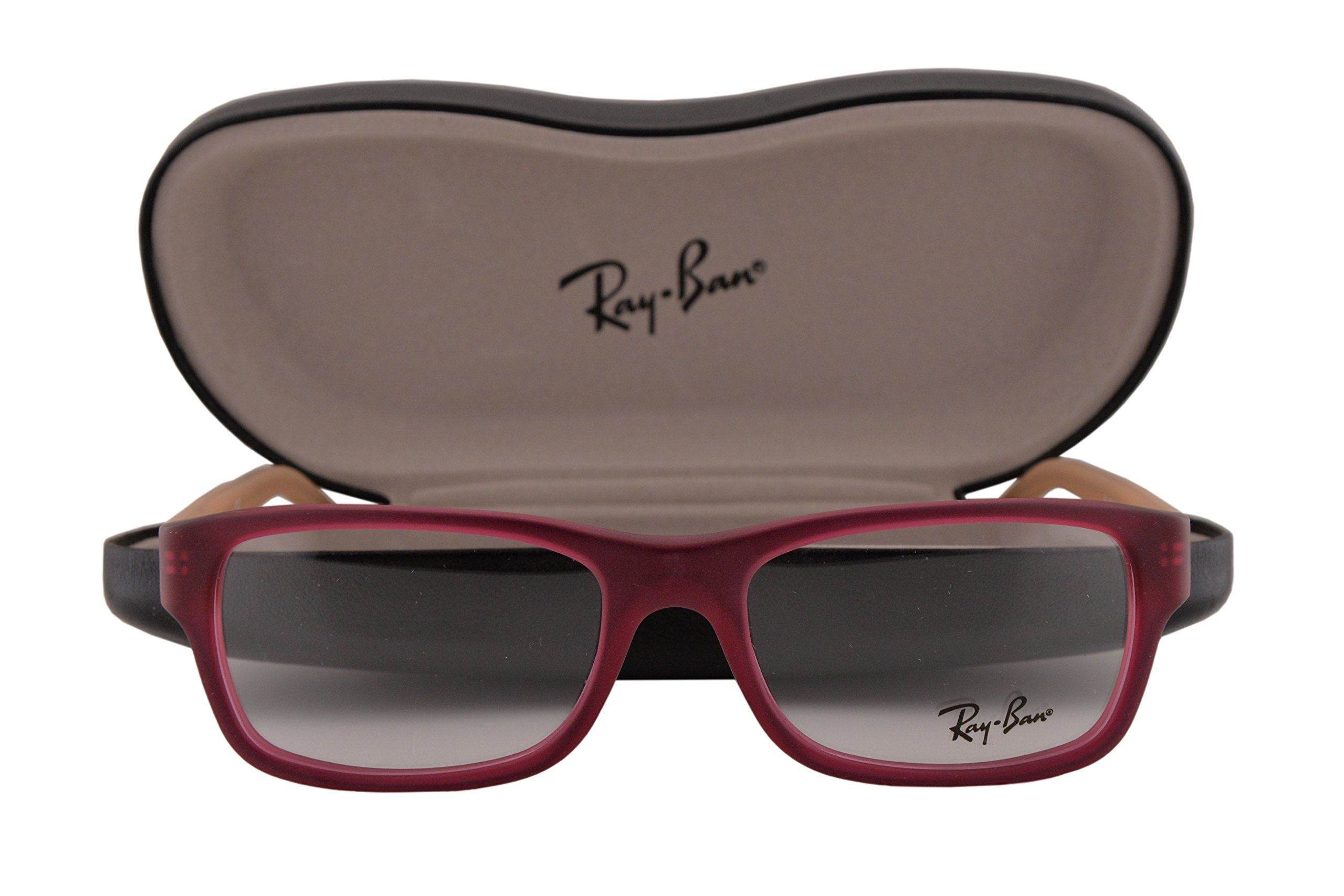 Ray Ban RX5268 Eyeglasses 48-17-135 Matte Violet Red 5553 RX 5268. Ray Ban Eyewear. Model: RX5268. Color Code: 5553 Matte Violet Red w/NON-WEARABLE CLEAR DEMO lens. Designer eyewear comes with original case and cleaning cloth. If the glasses arrive slightly crooked, it is natural, and they will return to their original shape when your lenses are installed. We handle prescription orders! Email us for details! Visit our storefront: www.amazon.com/shops/A1WUXX7TFM8VUI.