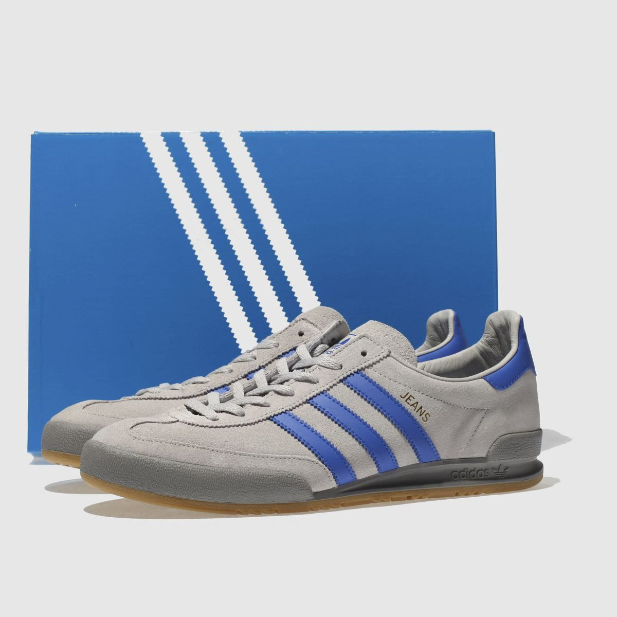 Mens Light Grey adidas Jeans Trainers