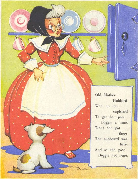 Old Mother Hubbard Nursery Rhyme 1940s Old Nursery Rhymes Nursery Rhymes Poems Fairytale Nursery