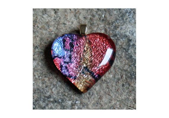 Da Bird Heart Pendant colorful puffy glass pendant by PiCassieO, $30.00