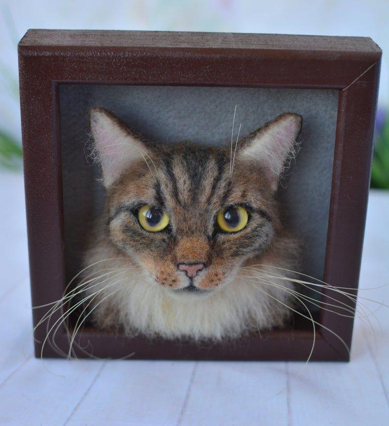 Cat portrait sculpture in frame Needle felted Cat Felt