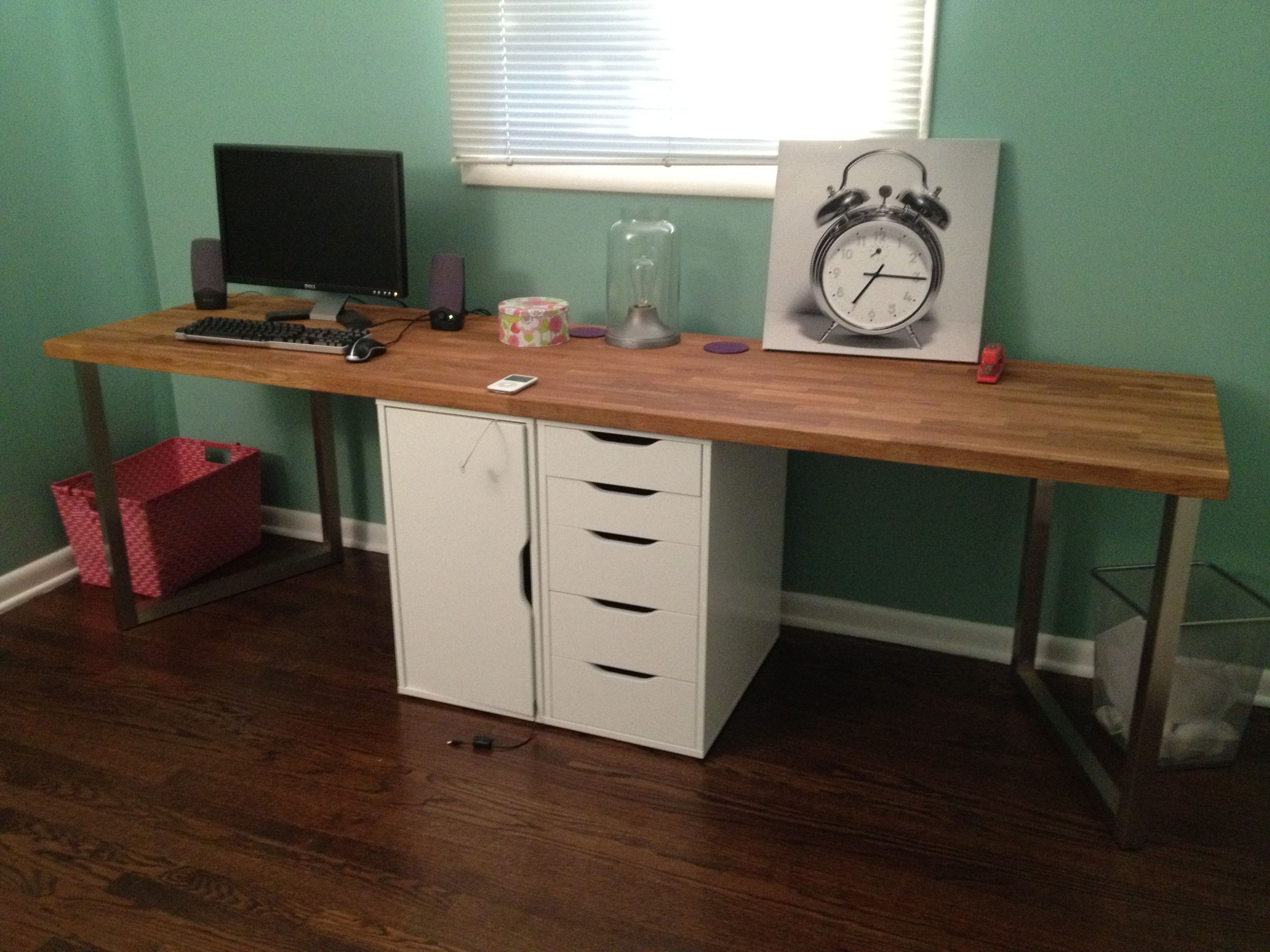 Stunning Diy Long Wood puter Desk with Green Wall Color and White Drawer Decor Idea
