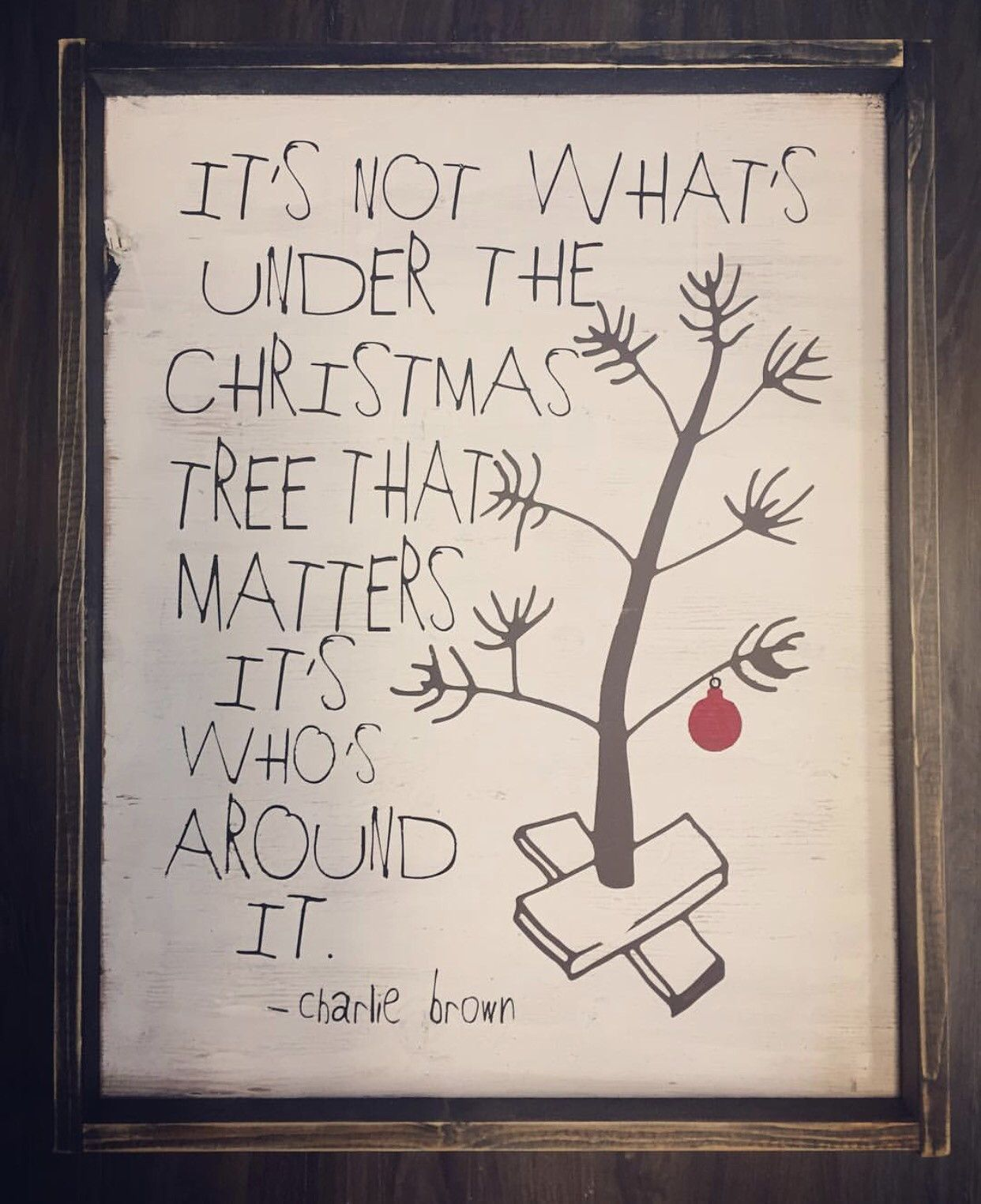 Charlie Brown Wood Tree Sign Christmas Decorations
