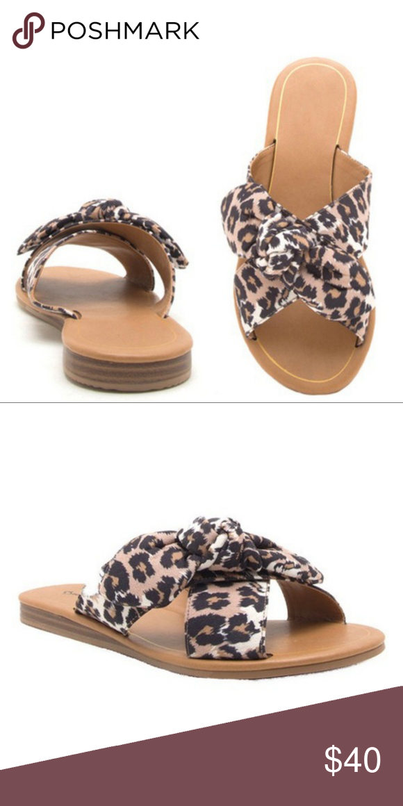 3bac69ed7ccc 💛ON TREND💛 Leopard Bow Slide on Sandals Leopard slide on sandals with a  tie