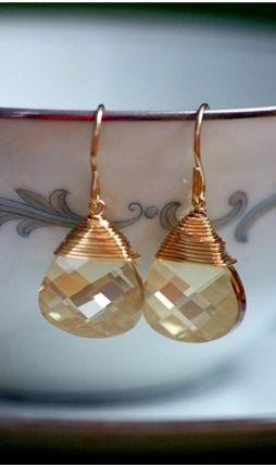 Gold Fill Champagne Swarovski Earrings