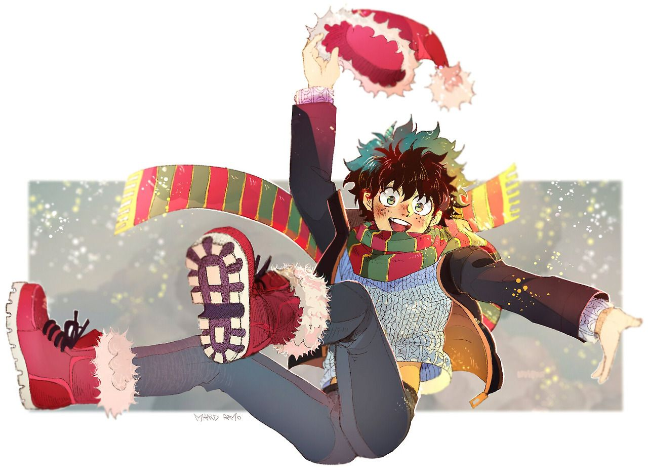 Izuku Midoriya Not My Art Credit Mardamo Tumblr Com Hero My Hero Anime Christmas