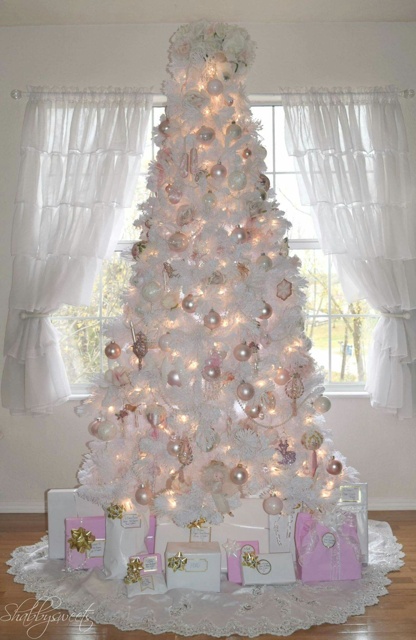 White On White With Accents Of Pearl Rose Gold Christmas Tree White Christmas Tree Decorations White Artificial Christmas Tree