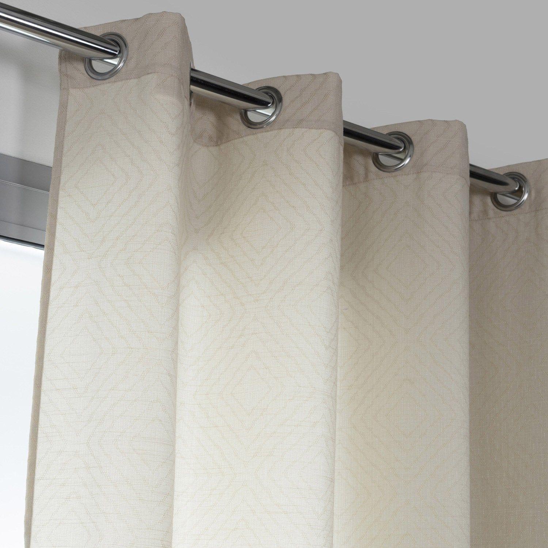 Leroy Merlin Teinture Textile rideau tamisant, losange beige l.140 x h.250 cm | rideaux