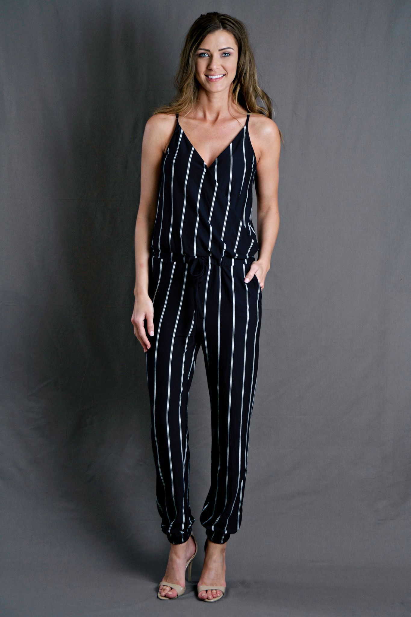 55702b4aa7 Navy Stripe Jumpsuit