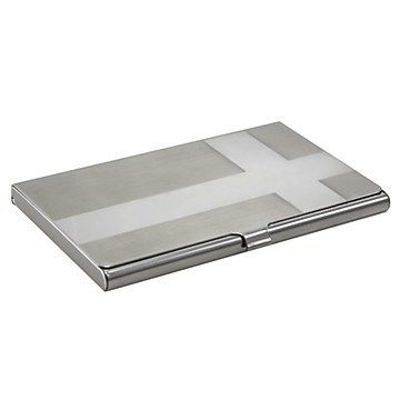 Insten Aluminum Business Card Case With Snap Closure Cross Silver At Staples Business Card Case Business Cards Leather Business Card Holder