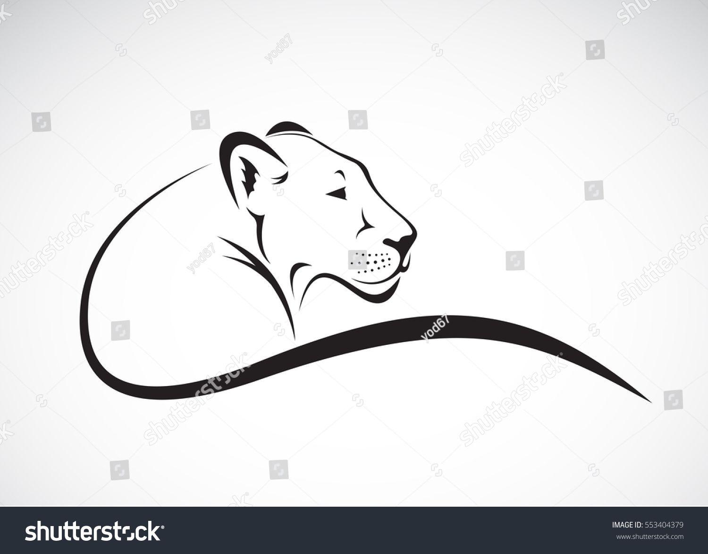 Vector Line Art Animals : Vector of a lion female on white background wild animals