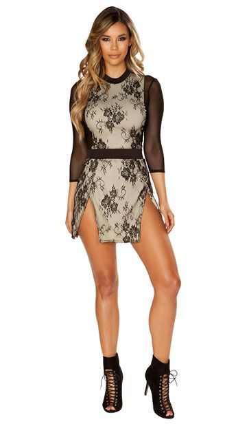 6d7e371836 Soft and sweet with a delicious edge, this seductive mini dress features a high  neck, a nude bodice with a black lace overlay, sheer mesh 3/4 length sleeves  ...