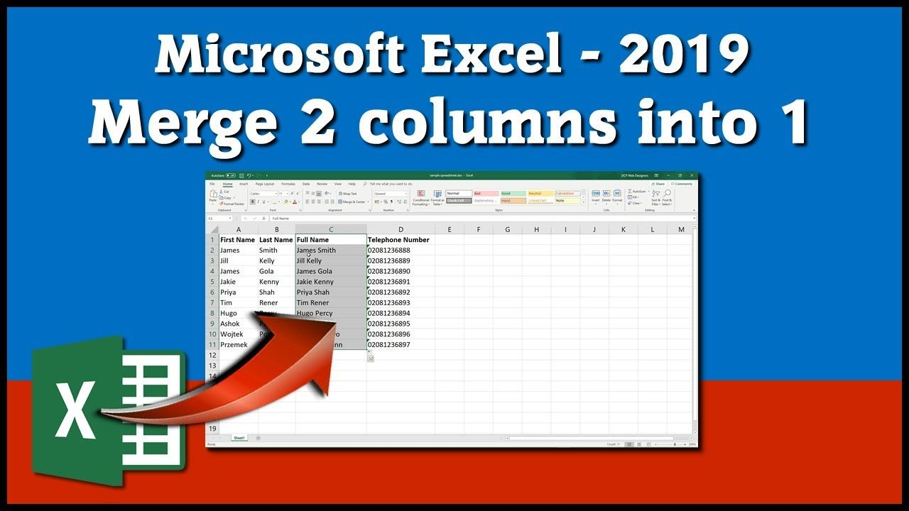 Excel Tutorial 2019 Merge Two Columns Into One Text Example Excel Excel Tutorials Microsoft Excel Tutorial