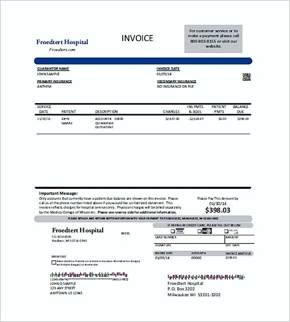 Free Medical Billing Invoice Forms  Medical Invoice Template  The