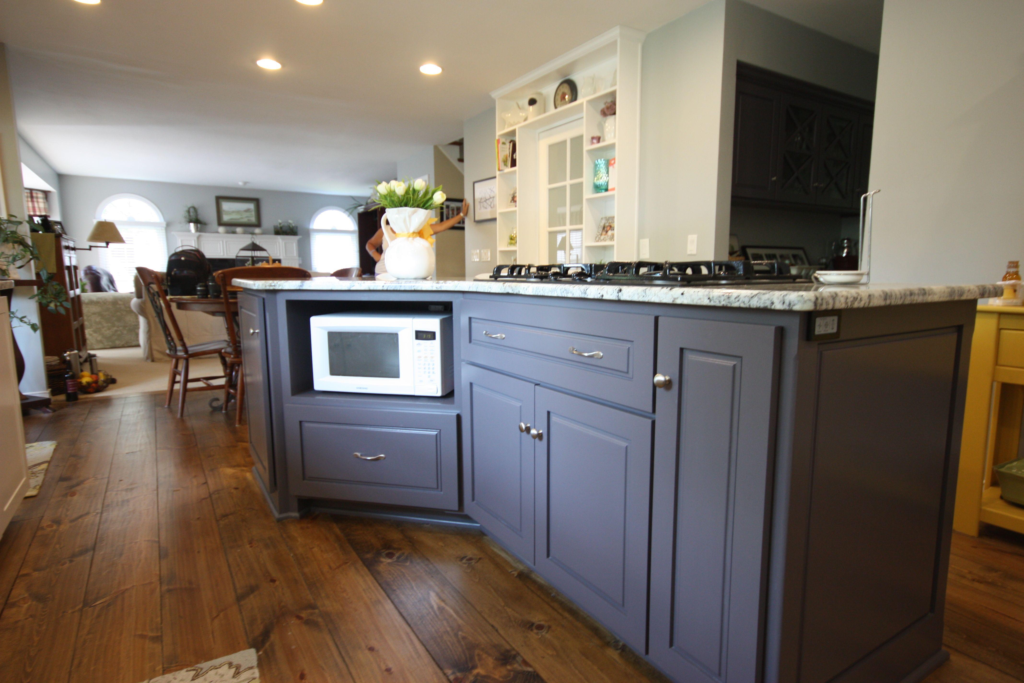 "Sherwin Williams ""Cloak Gray"" Maple Island Kitchen"
