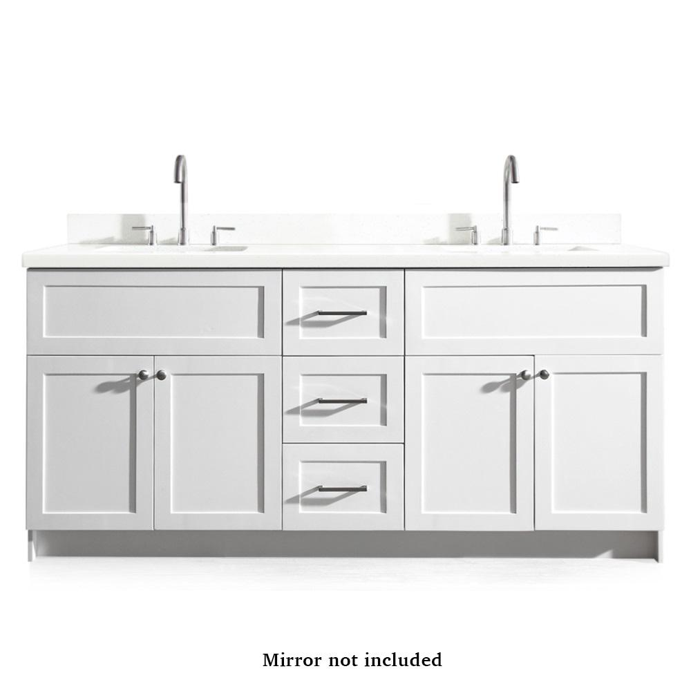 Ariel Hamlet 73 In Bath Vanity In White With Quartz Vanity Top In