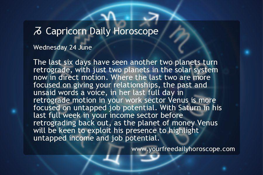 Capricorn Daily Horoscope for Wednesday 24 June in 2020