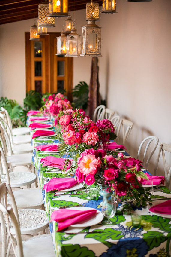 Hot pink floral birthday party in San Jose Del Cabo 100 Layer