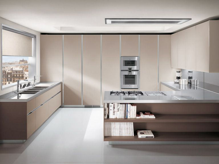 Kitchen Cabinets With Aluminum Frame And Ghibli Mat Lacquered Glass - Elektravetro-kitchen-by-ernestomeda