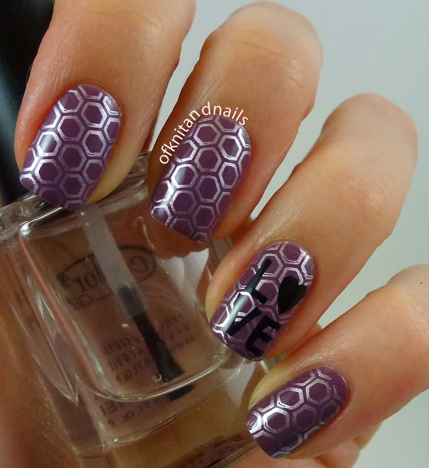 """Hexagon mani by Julie Rivard. Stamping over Zoya Odette, using Essie Nothing Else Metals and BM 422 I stamped the hexagons. Then using Konad Special Black Polish I stamped the """"Love"""" image from BM 412."""