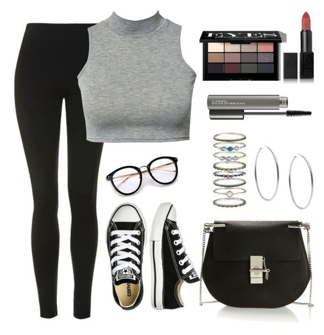 """""""#0190"""" by karlacg ❤ liked on Polyvore featuring Topshop, Club L, Converse, Chloé, Accessorize, Michael Kors, Bobbi Brown Cosmetics, NARS Cosmetics and MAC Cosmetics"""
