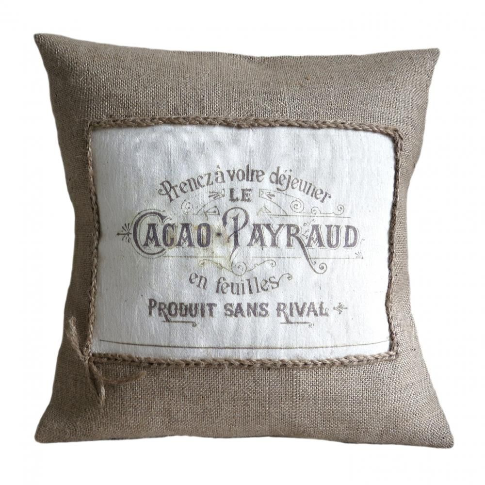Vintage French Cacao Advert Burlap Pillow Cover   Pillows Pillows ...