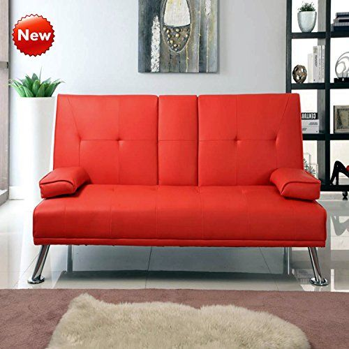 Popamazing Cinema Style 3 Seater Faux Leather Sofa Bed With Folding Down Cup Holder Futon