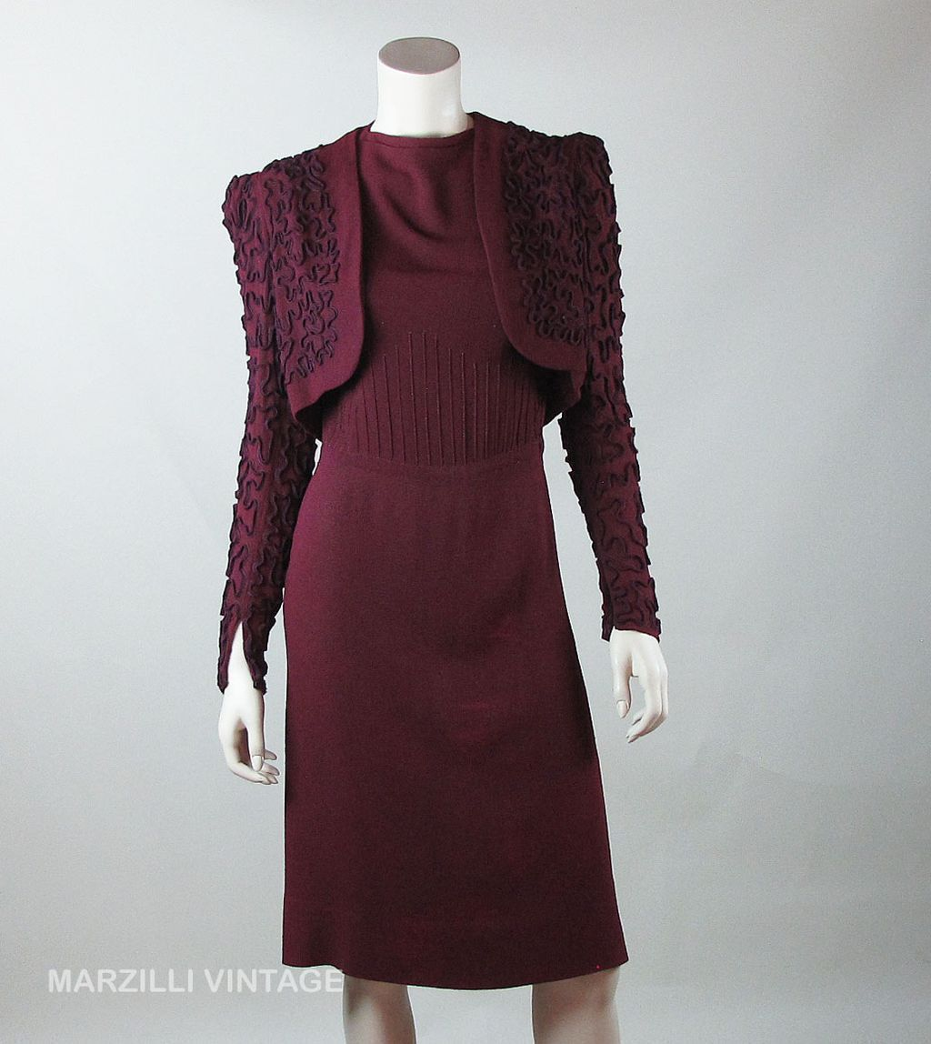 Circa 1940 Fashion Originators Guild Two-Piece Crepe Cocktail Dress ...
