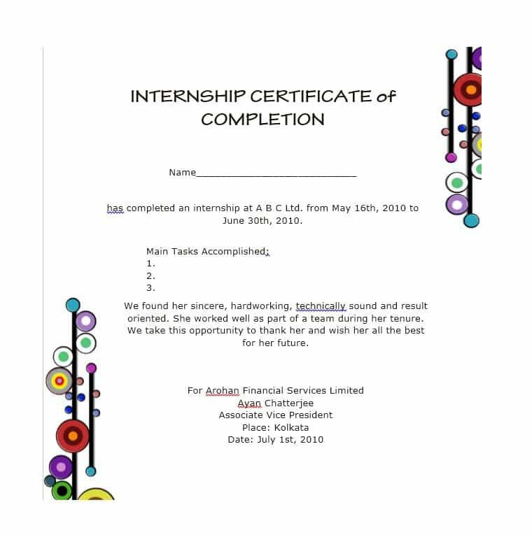 Certificate Of Completion Templates 10 Free Printable Pdf Word