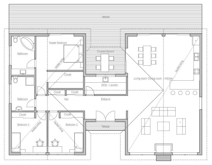 Utility must be moved so it can be opened up as a full Modern breezeway house plans