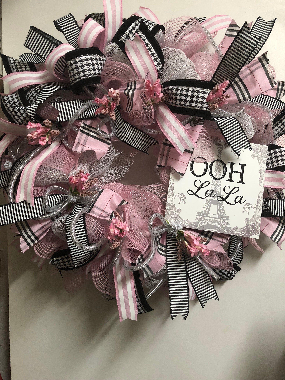Black and pink Wreath deco mesh wreath, Paris deco
