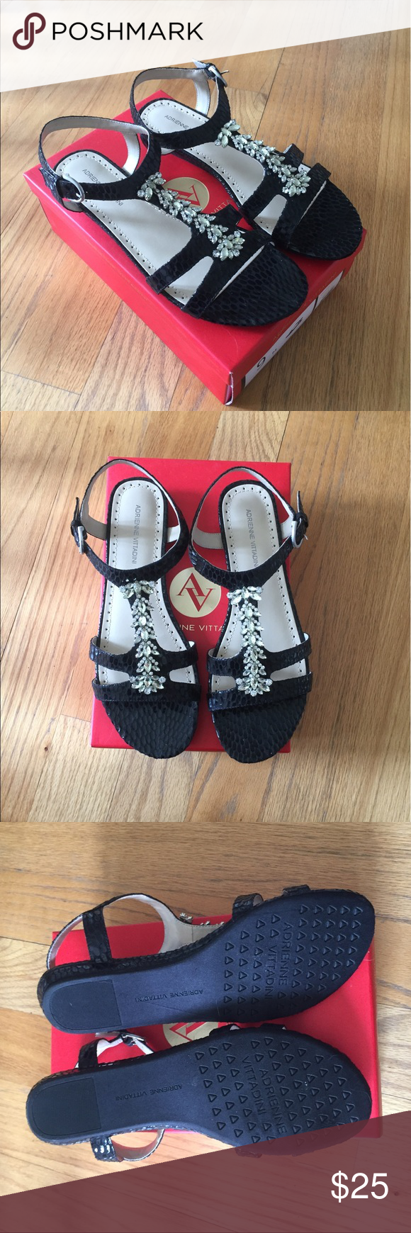 Jewelled Sandals Black snake skin like Sandals with jewel detail. Size 9. New with box. Strap around ankle is adjustable. Shoes Sandals