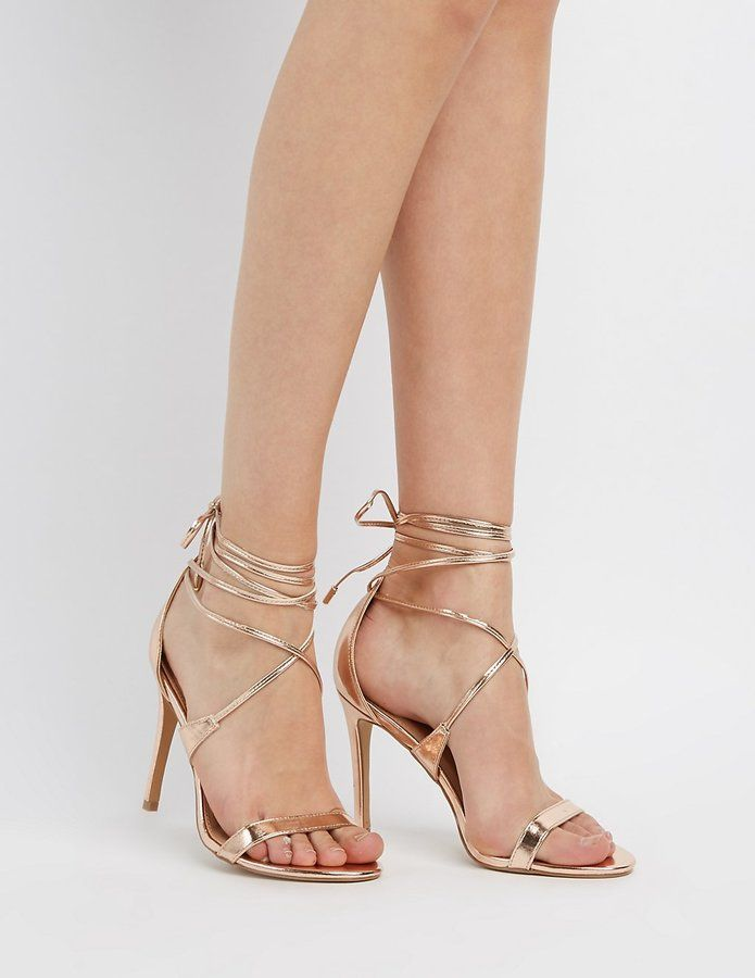 f7c0a7df918 Charlotte Russe Lace-Up Two-Piece Sandals