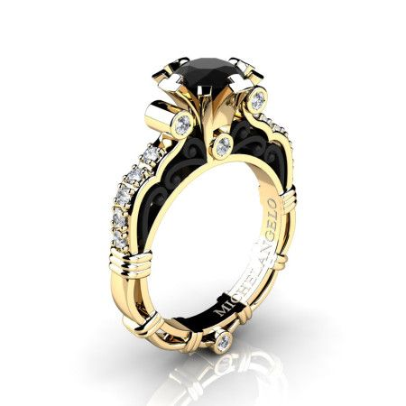Art Masters Michelangelo 14K Two Tone Yellow Gold 1 0 Ct Black and White Diamond Engagement Ring R72314KYBGDBD - White diamond rings engagement, Classic engagement rings, Jewelry, Caravaggio jewelry, Art masters jewelry, Bridal jewelry - Brand Caravaggio Jewelry Free Shipping Within 10 to 12 Business Days