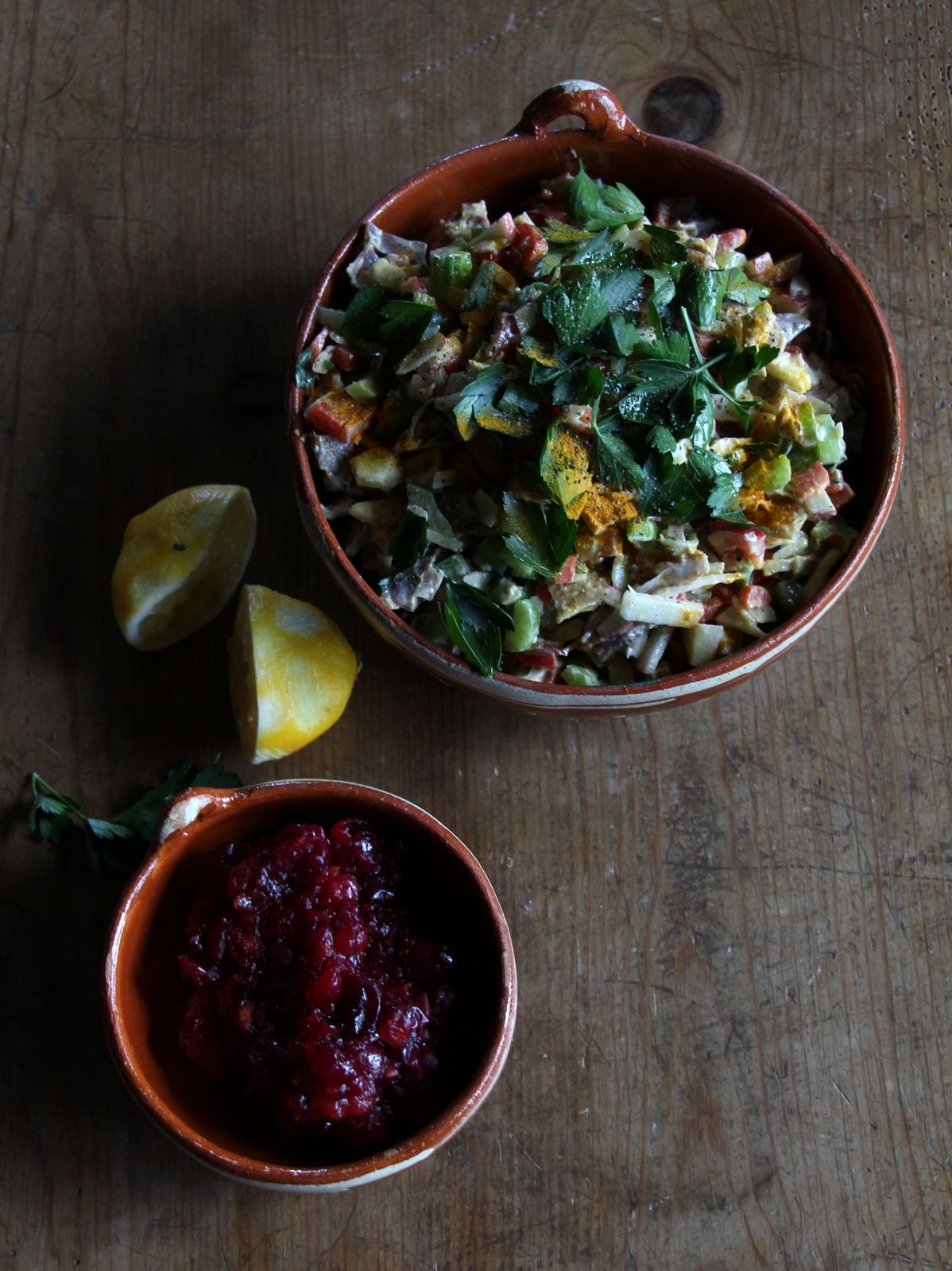 Smoked chicken salad with maple cranberry sauce