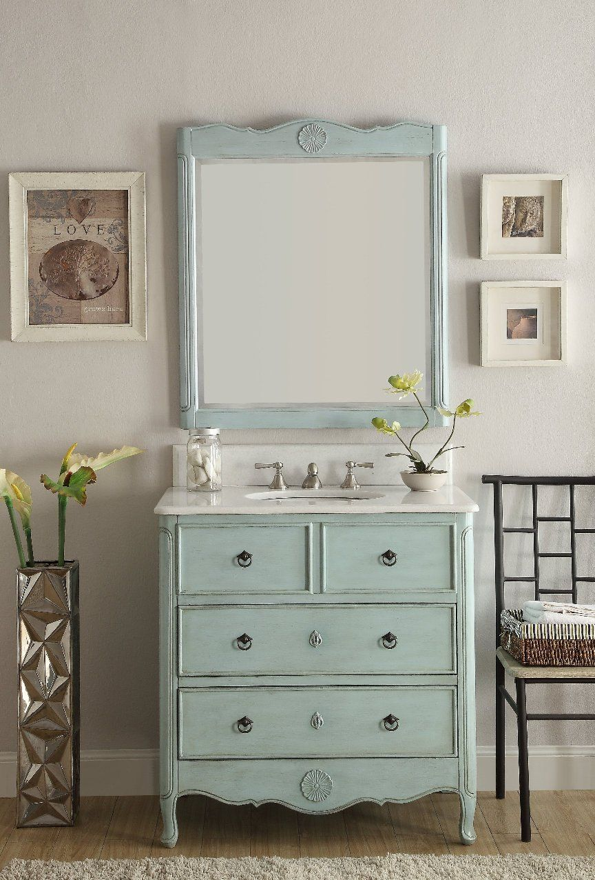 34 Distress Light Blue Daleville Bathroom Sink Vanity Hf 081lb