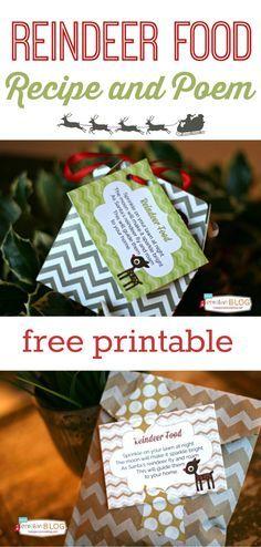 Reindeer Food Poem Free Printable #reindeerfoodrecipe