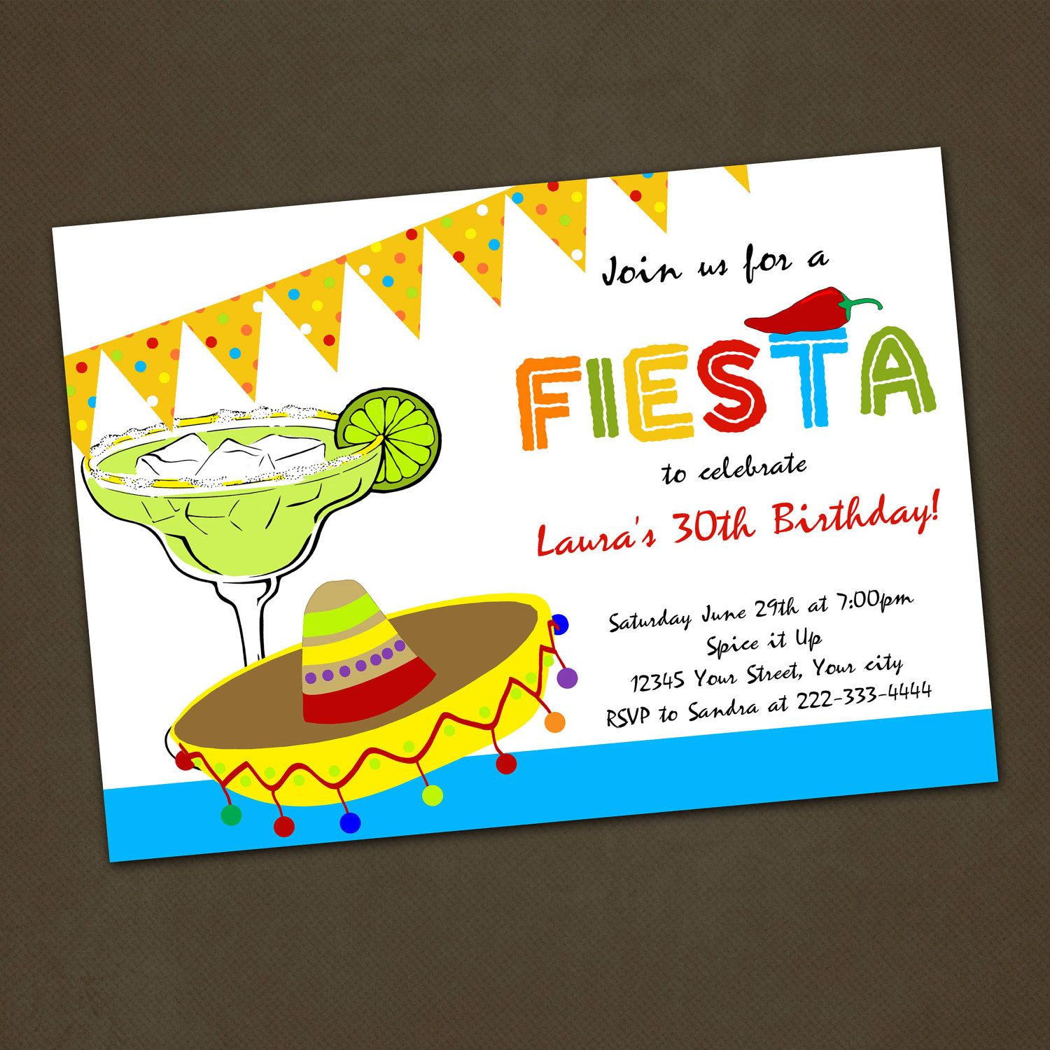Mexican Fiesta Birthday Party Invitations You by PinkSkyPrintables