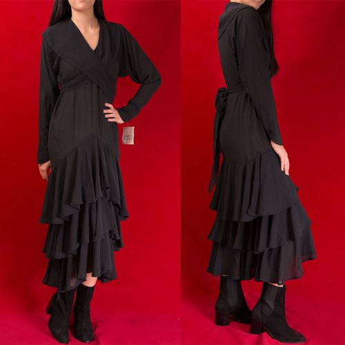 VTG-NORMA-KAMALI-80s-Romantic-Sheer-RUFFLED-Avant-Garde-DRESS